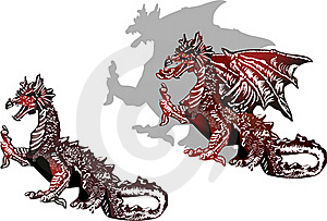 Two  Black And Red Dragons Royalty Free Stock Photography - Image: 22814887
