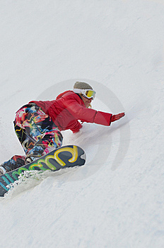 Girl On Snowboard Royalty Free Stock Photography - Image: 22816097