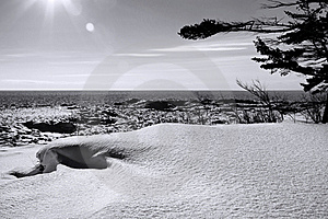 Lake Superior Winter B & W Royalty Free Stock Images - Image: 22825509