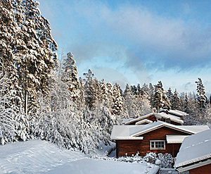 Log Houses In Snowy Winter Scenery Stock Photography - Image: 22829882