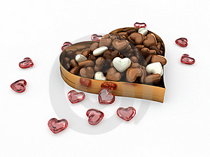 Heart Box Of Candy Chocolates Royalty Free Stock Image - Image: 22835686