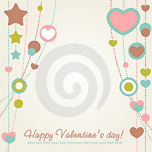 Valentine Congratulation Card With Hearts Royalty Free Stock Photography - Image: 22839577