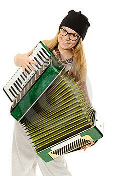 The Girl Plays An Accordion Royalty Free Stock Images - Image: 22849869