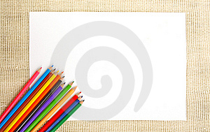 Paper On Burlap With Pencils Royalty Free Stock Photography - Image: 22855397