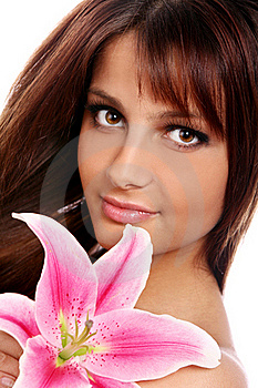 Young And Beautiful Woman With Lily Flower Stock Photo - Image: 22855970
