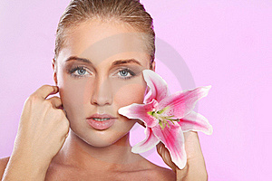 Beautiful Woman With Lily Flower Stock Images - Image: 22856794