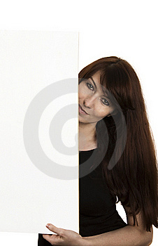 Smiling Young Woman With A Blank Board Royalty Free Stock Photography - Image: 22866637