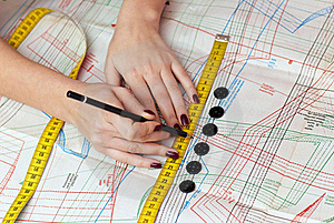 Female Hands Measuring Distance Royalty Free Stock Images - Image: 22867529