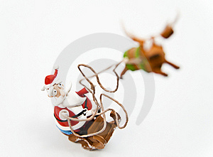 Zoom In Santa Claus In Sleigh Royalty Free Stock Photo - Image: 22877505