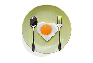 Fried Egg Heart And Spoon Royalty Free Stock Photos - Image: 22887088