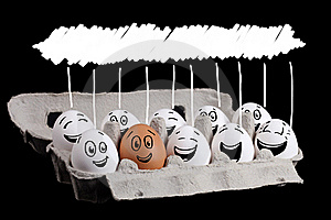 Happy Group Of Eggs With Copyspace Stock Photography - Image: 22891852