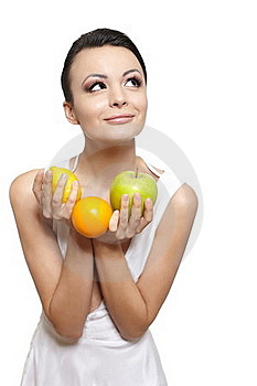 Happy Girl With Fruits Lemon And Green Apple Stock Photography - Image: 22898222