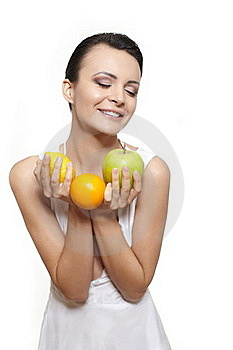 Happy Girl With Fruits Lemon And Green Apple Stock Images - Image: 22898224