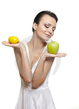 Happy Smiling Girl With  Fruits Lemon Green Apple Royalty Free Stock Photos - Image: 22898788