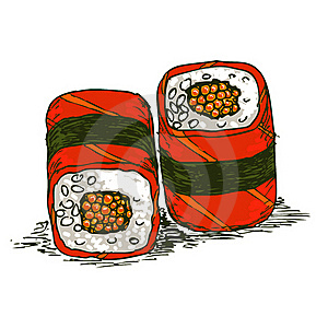 Tasty Rolls With Caviar Stock Photo - Image: 22902280