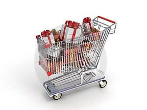 Shopping Trolley And Gifts Royalty Free Stock Photography - Image: 22913287