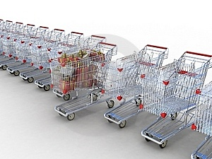 Shopping Trolley And Gifts Stock Photo - Image: 22913730