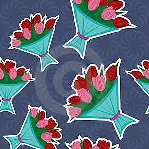 Seamless Background With Bouquets Of Tulips Stock Photos - Image: 22951103
