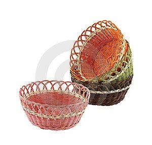 Set Wicker Bowl Royalty Free Stock Photos - Image: 22957728