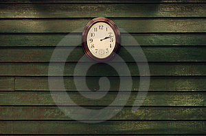 Old Wooden Wall With Clock Royalty Free Stock Photo - Image: 22966565
