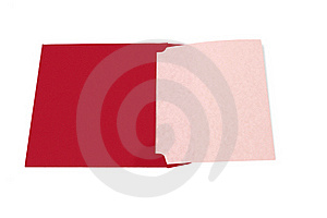 Opened Red Envelope With Blank Paper Stock Photo - Image: 22980870