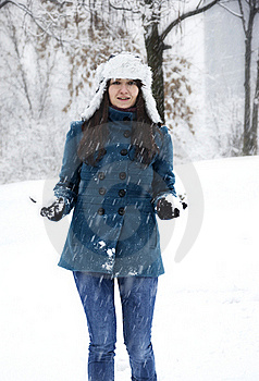 Woman Playing With Snow Royalty Free Stock Photo - Image: 22997365