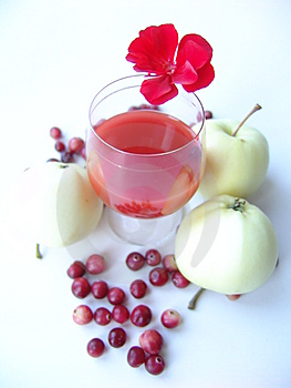 Red Drink With Autumn Gifts Free Stock Image