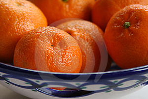 Oranges Is Ceramic Dish Stock Photo