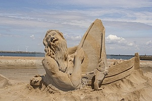 Sailor In Sand Stock Photo
