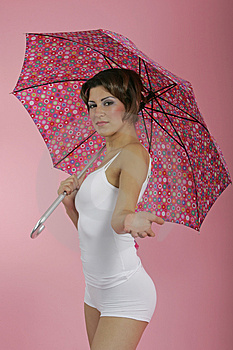 Brunnete With Umbrella Free Stock Photo