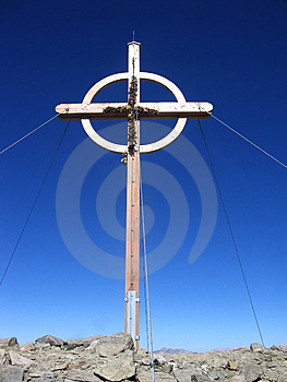 Cross in the mountains Royalty Free Stock Photo