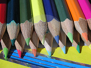 Crayons In The Sun Stock Image