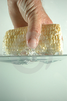 Hand And Corn In Water 2 Free Stock Images