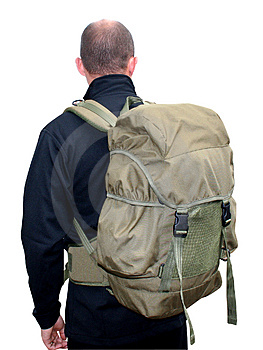Man wearing rucksack Stock Photography