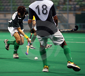 Hockey Player In Action Royalty Free Stock Photo