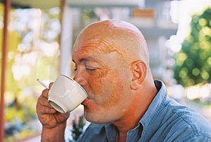 Bald Head Enjoying Coffee And Cigarette Free Stock Photos