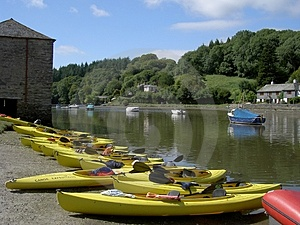 Yellow Canoes Free Stock Photography