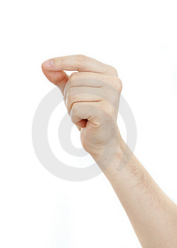 Male Hand Holding Some Thin Object Isolated Royalty Free Stock Photos - Image: 23004548