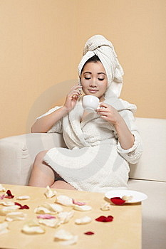 Chinese In White Bathrobe With Towel On Head Royalty Free Stock Photography - Image: 23006067