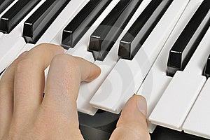 Musician Playing The Piano (MIDI Keyboard) Royalty Free Stock Photo - Image: 23008505