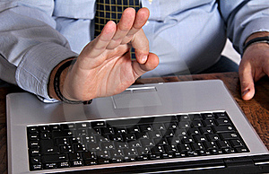 Ok Hand Sign Over Keyboard Royalty Free Stock Photo - Image: 23010565