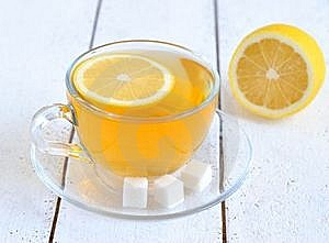 Tea With Lemon In A Transparent Cup Royalty Free Stock Image - Image: 23025756