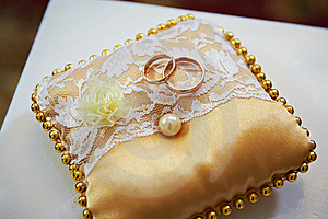Wedding Rings On A Satin Pillow Royalty Free Stock Photography - Image: 23037407