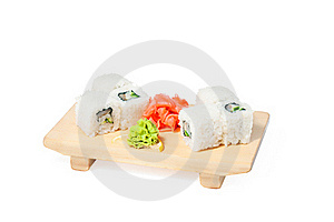 Asian Food Sushi On Wooden Plate Stock Images - Image: 23042884