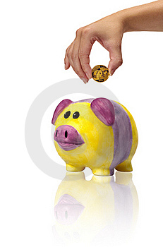 Savings In Piggybank With Gold Coins Royalty Free Stock Photos - Image: 23045748