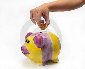 Savings In Piggybank With Gold Coins Stock Photo - Image: 23053860