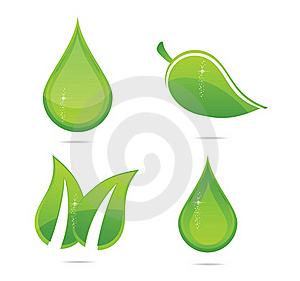 Elegance Eco Leafs Set Green Color Royalty Free Stock Photos - Image: 23055328