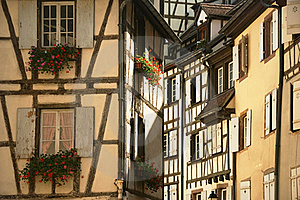 Flowers And Windows In The City Of Colmar France Royalty Free Stock Photography - Image: 23060367