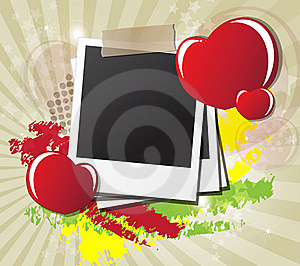 Valentine's Day Card With Hearts, Instant Photos Stock Images - Image: 23060464