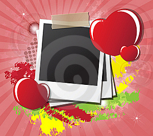 Valentine's Day Card With Hearts, Instant Photos Stock Photography - Image: 23060502